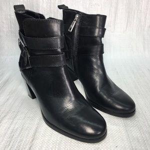 Ralph Lauren Cassy 11424 Black Leather Ankle Boots